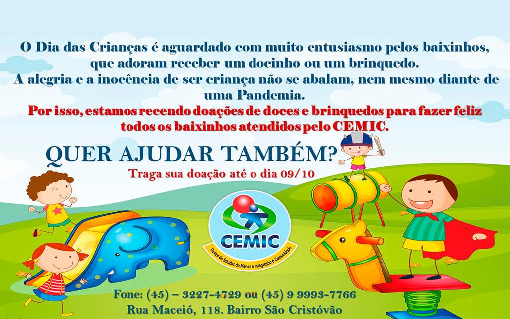 CEMIC REALIZA AÇÃO PARA ARRECADAÇÃO DE DOCES E BRINQUEDOS
