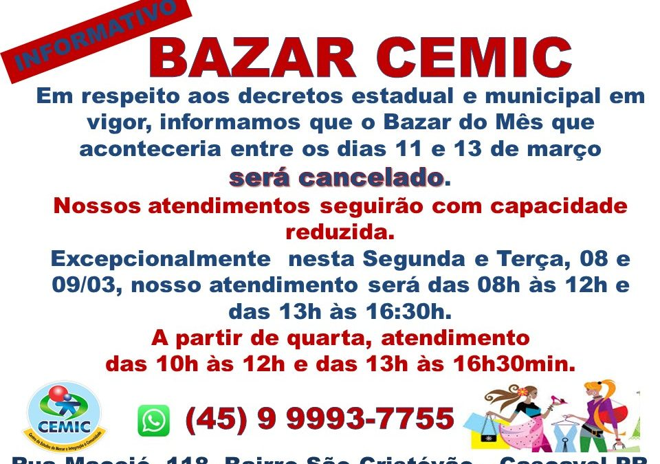 Informativo Bazar CEMIC 08.03.2021